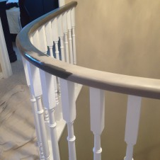 Oak to black and white Handrail  during