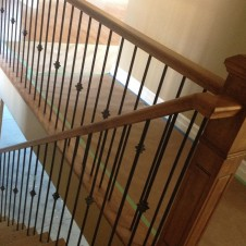 Staining new rail-Railing after