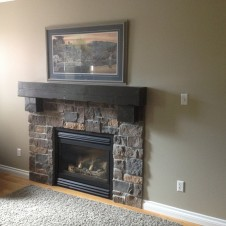 Wood Plank Fireplace after