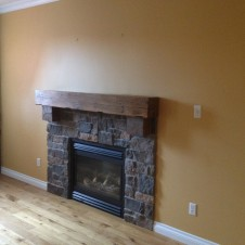 Wood Plank Fireplace before
